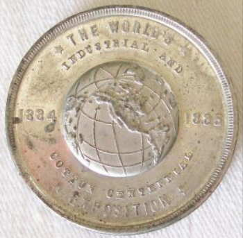 World's Industrial and Cotton Centennial Expositon Commemorative Medal with Cotton Fields