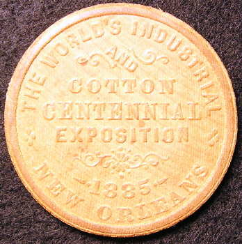 Wood Souvenir coin from 1885 Cotton Centennial Exposition