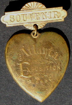 Souvenir Atlanta Exposition 1895 Hearth Shape Badge