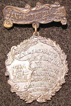 Atlanta 1895 Exposition  Badge - Manhattan Day