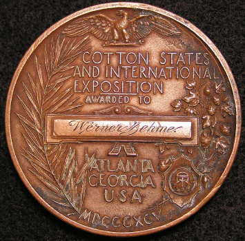 1895 Atlanta Georgia USA  Cotton States and International Exposition Awarded To