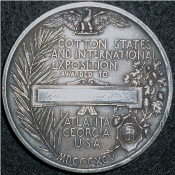 1895 cotton states silver award medal