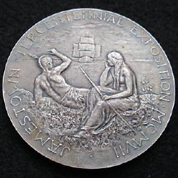 Silverd bronze medal 1907 Jamestown Exposition of 1907