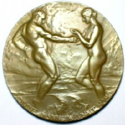 Gold plated award medal 1915 expo